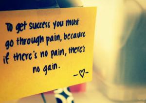 No Pain No Gain...